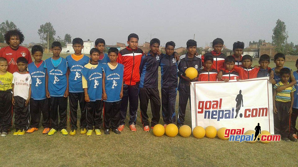GoalNepal Foundation Donates 10 Indestructible Footballs, A Set Of Jersey, 13 Tracksuits & 30 Lowers To Dhanusha Football Academy