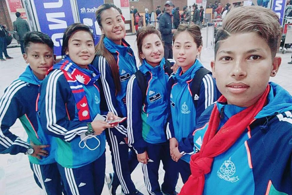 Nepal APF Women's Team Leaves For Hong Kong To Play A Friendly Match