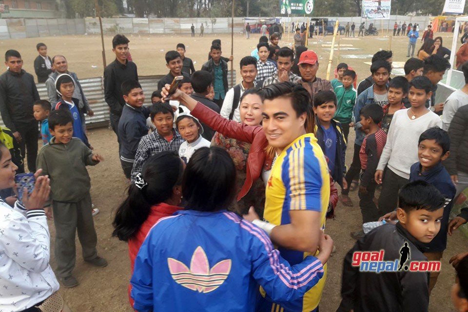 Goalie Bikesh Kuthu Swarmed By Fans In Hetauda - PICTORIAL