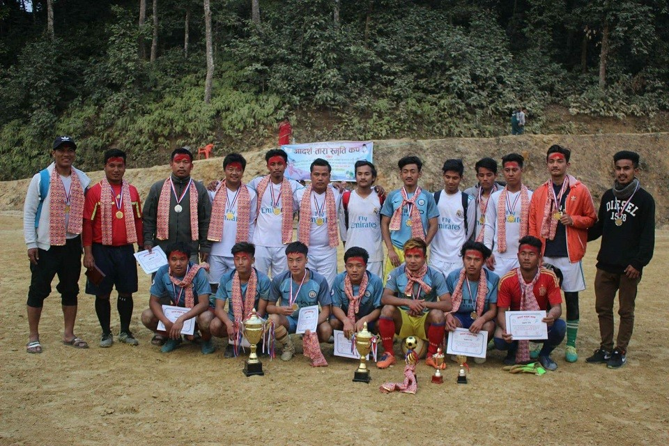 Tanahun: Hosts Adarsha Club Wins Title Of Adarsha Tara Memorial 7-A-Side Championship
