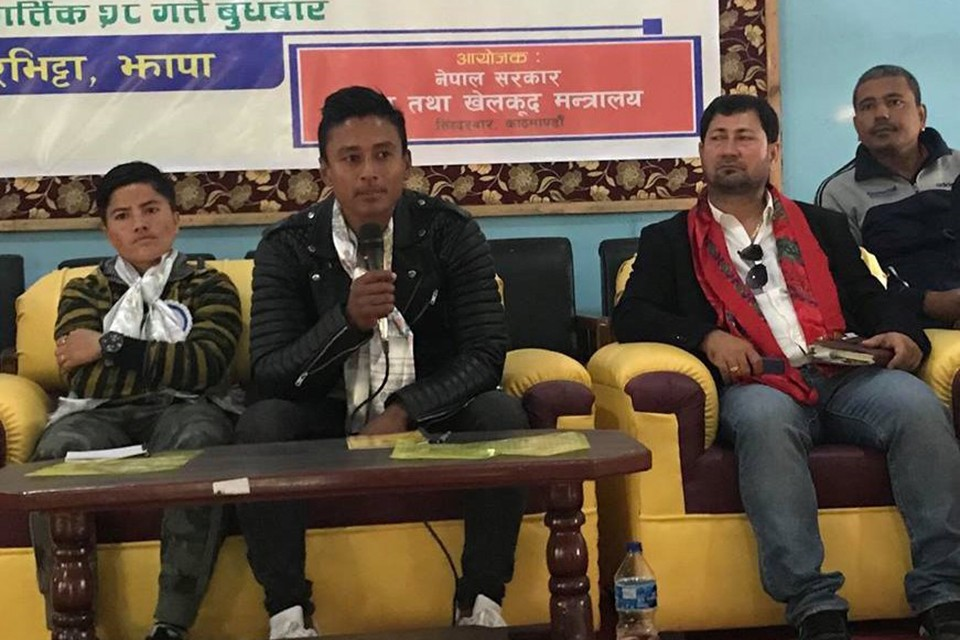 Nepal International Nawayug Shrestha, Anu Lama Meet Junior Players In Kakarvitta, Jhapa