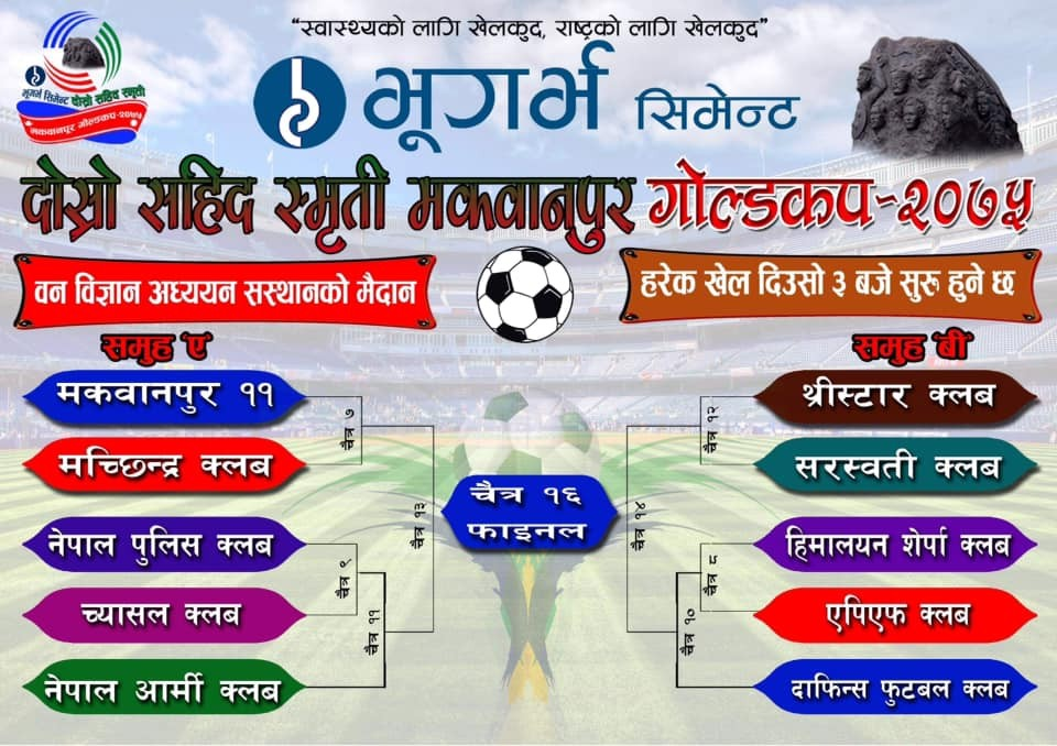 Bhugarva Cement Martyr's Memorial Makwanpur Gold Cup From Tomorrow