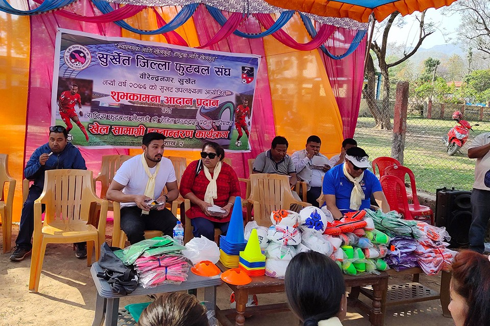 Nepal International Rohit Chand Provides Sporting Gears Worth Nrs 1 Lakh To Province 6 Football Team