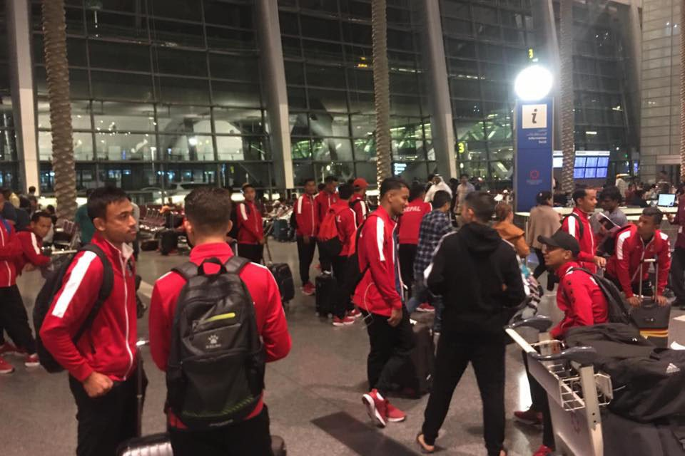 Nepal U23 Team Lands Doha, Qatar Safely