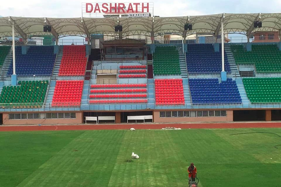 ANFA Continues Pitch Maintenance At Dasharath Stadium During Lockdown